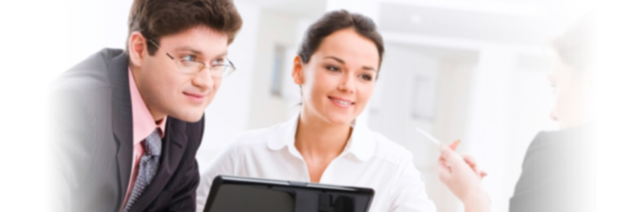 Businessman and Businesswoman with laptop having a conversation with a woman